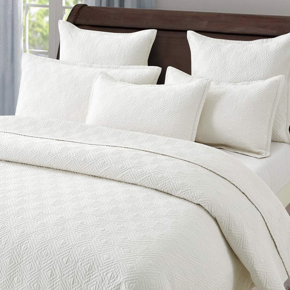 Calla Angel Evelyn Stitch Diamond Luxury Pure Cotton Quilt, Ivory, King by Calla Angel (Image #3)
