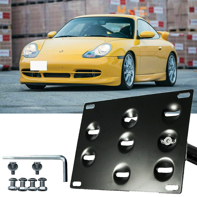 Xotic Tech Bumper Tow Hook License Plate Mount Bracket for Porsche 911 Carerra 1994-2011 Black