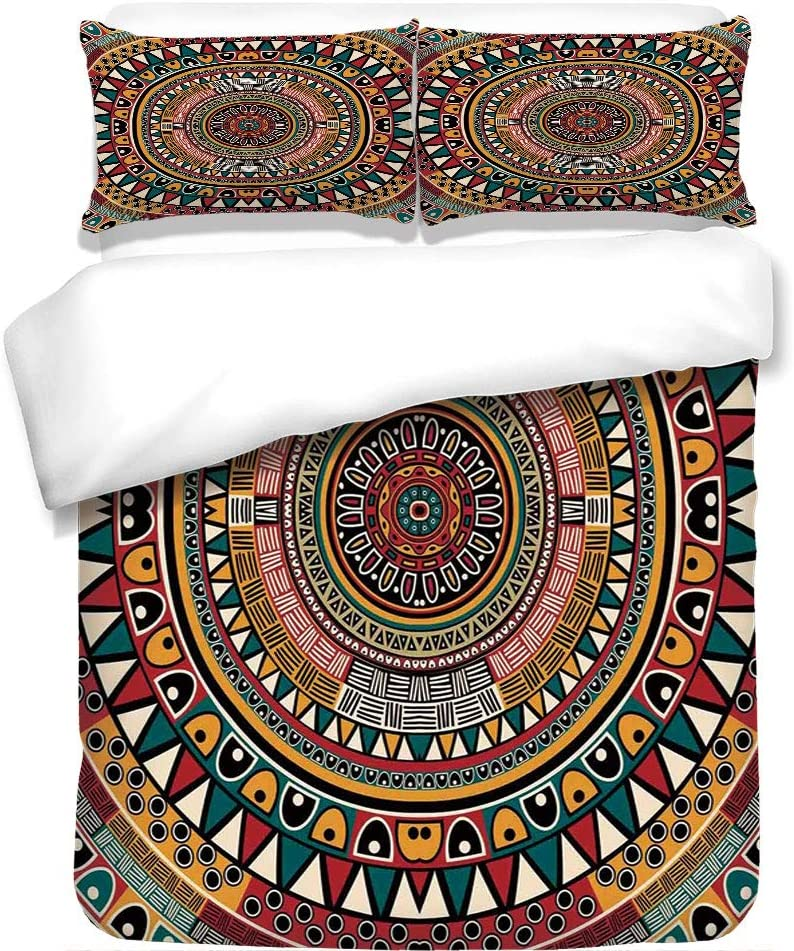 Iprint 3pcs Duvet Cover Set Tribal Decor African Folkloric Tribe Round Pattern With Ethnic Colors Aztec Art Jade Ruby And Mustard Best Bedding Gifts For Family Friends Amazon Ca Home Kitchen