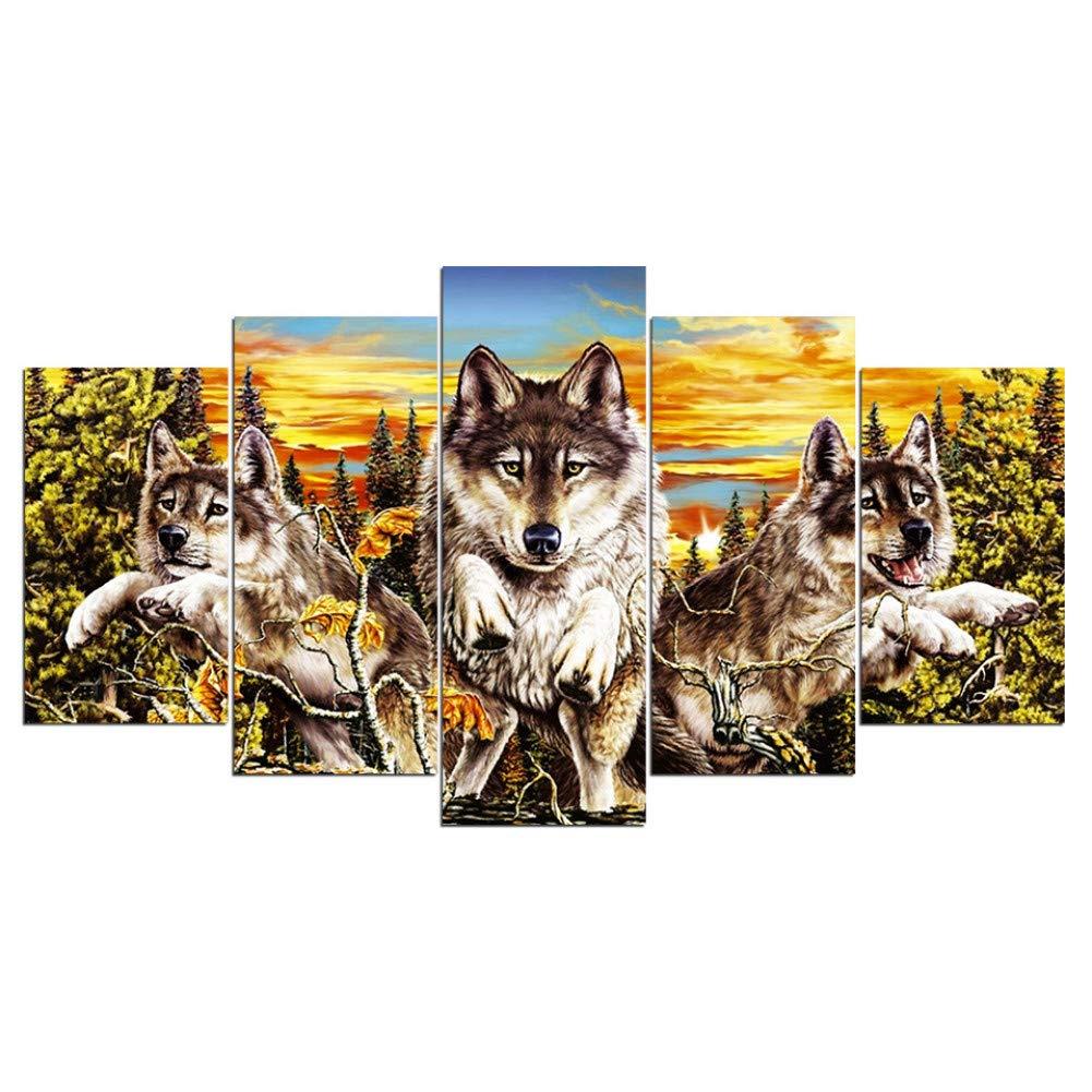 YCOLLC Impresi/ón sobre Lienzo Decoraci/ón del hogar Modular 5 Panel Lienzo Pared Puesta de Sol Animal Lobo Pintura Cuadros para la Sala de Estar Posters Impresiones cartelSin Marco