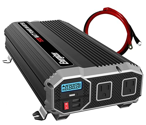 Energizer 1500 Watts Power Inverter 12V to 110V, Dual 110 Volt AC Outlets, Modified Sine Wave Car Inverter, DC to AC Converter with Battery Cables Included – MET Approved to UL and CSA Standards