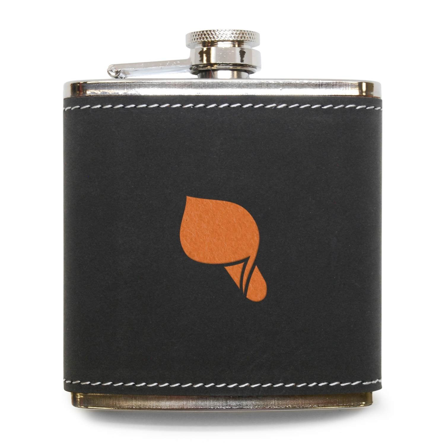 MODERN GOODS SHOP Callalily Flask - Stainless Steel Body With Grey Leather Cover - 6 Oz Leather Hip Flask - Made In USA by Modern Accessories Company
