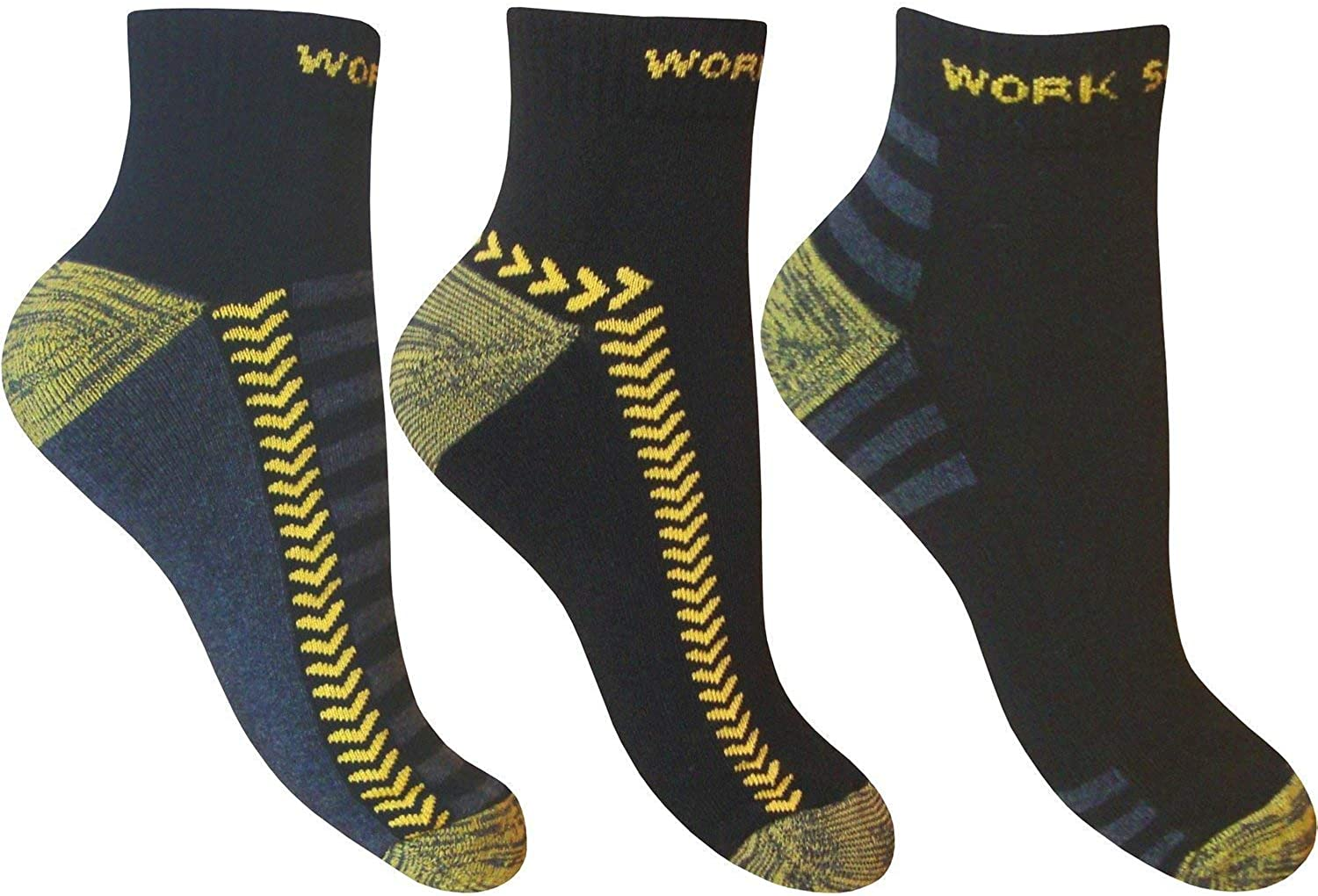 3 Pairs Mens Socks Trainer Sports Cotton Ankle Socks Heel Protection Size 6-11