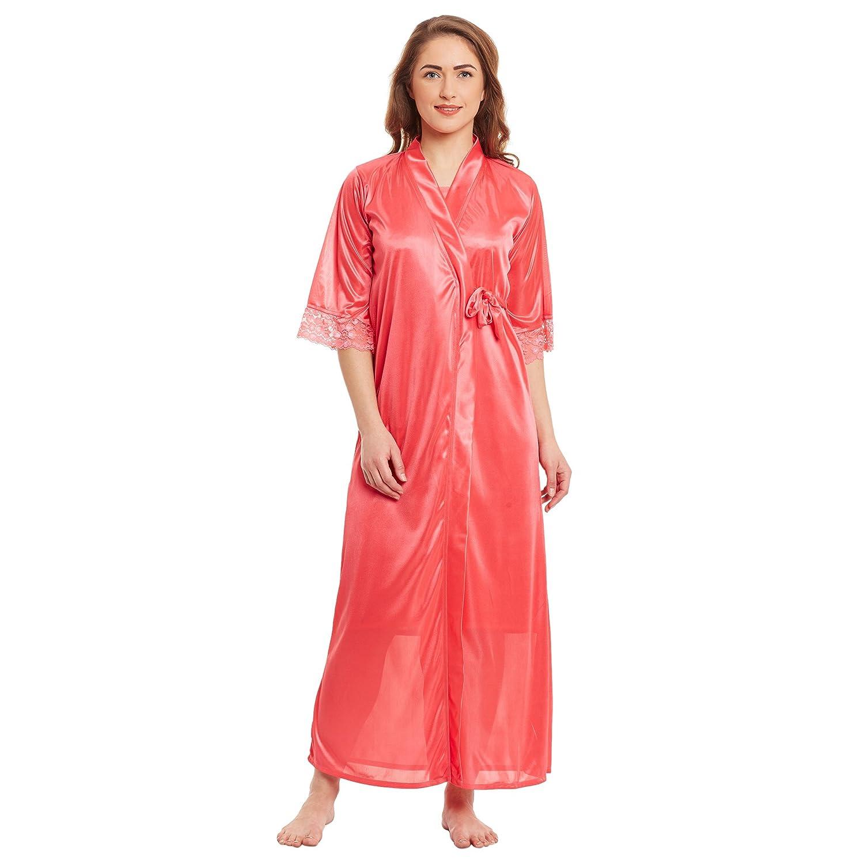 Claura Stylish 2pc Women Satin Nighty With Robe Nightdress  Amazon.in   Clothing   Accessories 571ead4c0