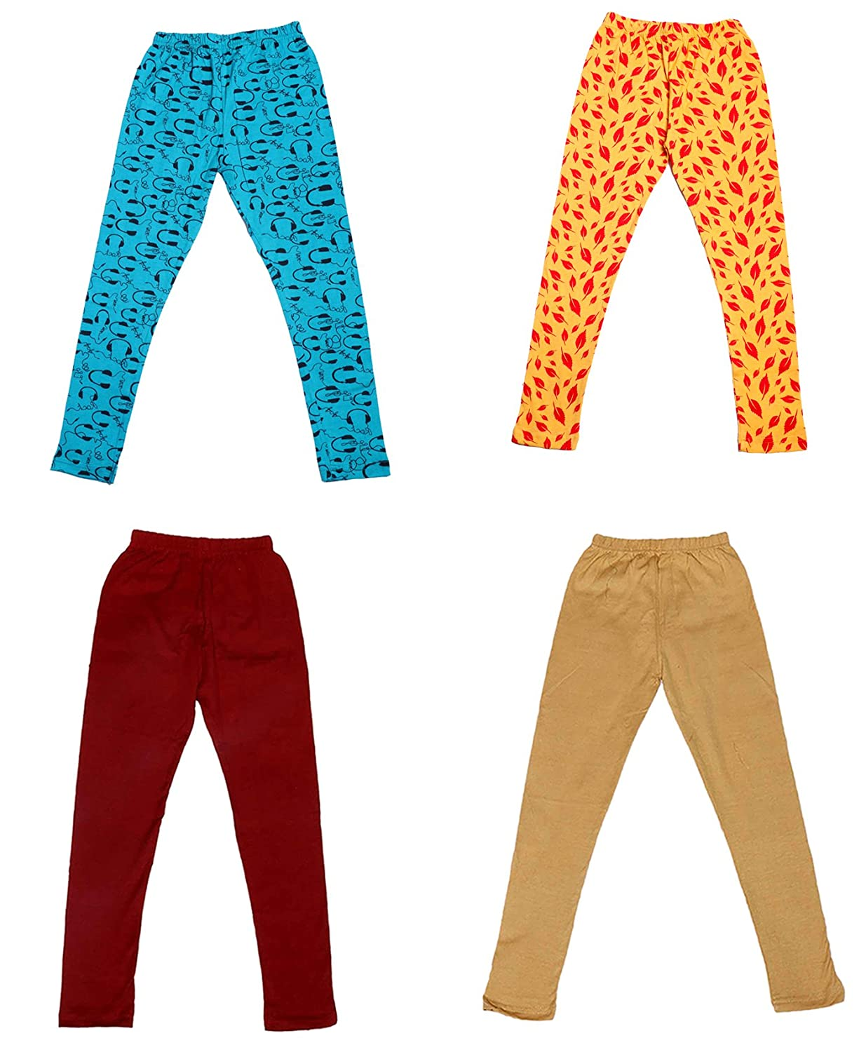 /_Multicolor/_Size-3-5 Years/_71400011718-IW-P4-24 Pack Of 4 Indistar Girls 2 Cotton Solid Legging Pants and 2 Cotton Printed Legging Pants