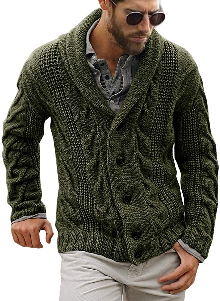 Gafeng Mens Ranking TOP4 Shawl Financial sales sale Collar Cable Closure Knitted Casual Button Rib
