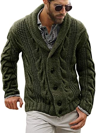 Mens Cable Knit Cardigan Sweater Shawl Collar Loose Fit Long