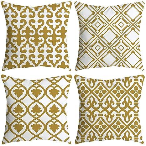 VJGOAL impresión de Moda hogar Decorativo Suave sofá cómodo Cojín Cuadrado Funda de Almohada 4 Piezas Conjunto(45_x_45_cm,Multicolor12)