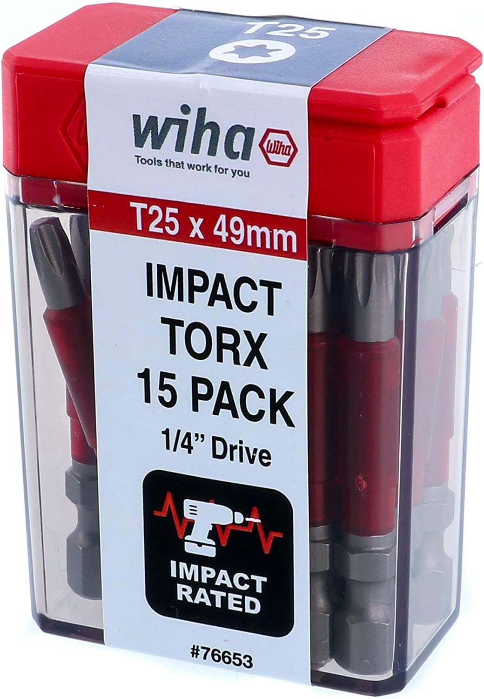 15 Pack Wiha 76653 Terminator Impact Power Bit T25 Torx
