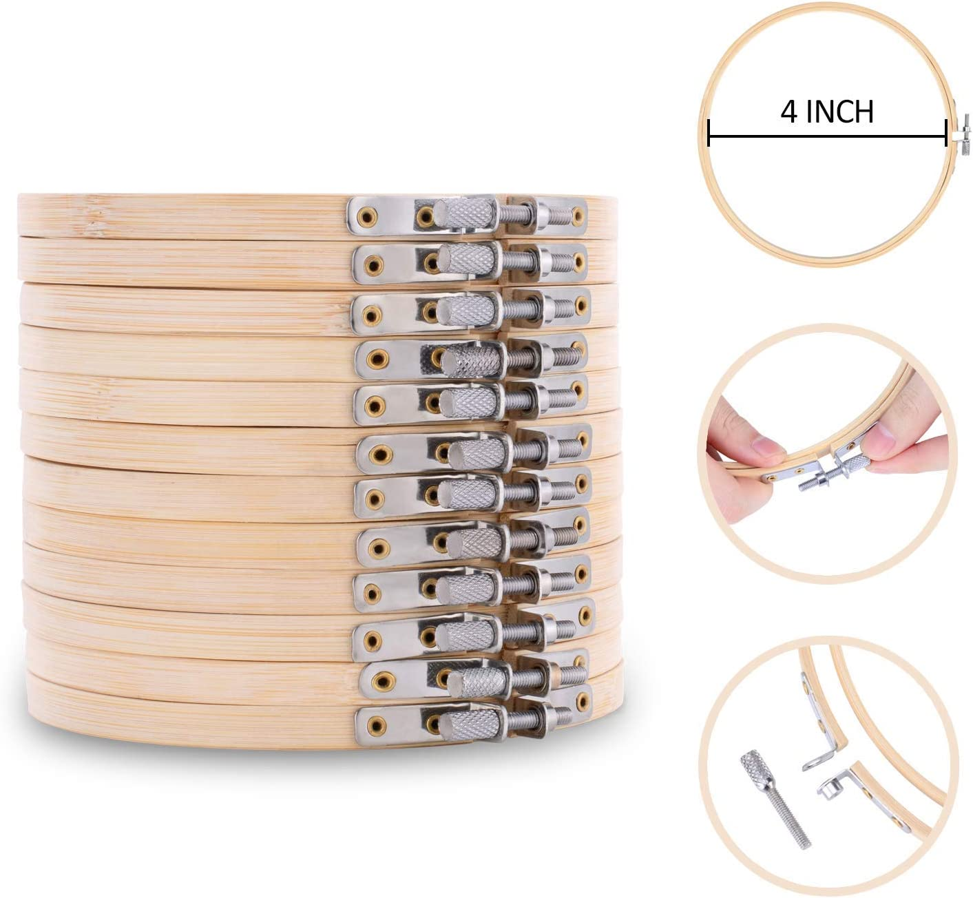 6 inch Bamboo Wooden Embroidery Hoop Stitch Ring Frame Sewing Craft DIY Tool