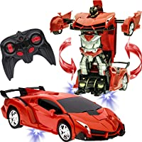 Gooyo RC Cars Robot for Kids Electronic Radio Remote Controlled Car Toys with One-Button Deformation and 360°Rotating Drifting 1:18 Scale with Battery Charger, Best Gift Toys for Boys Kids and Adults
