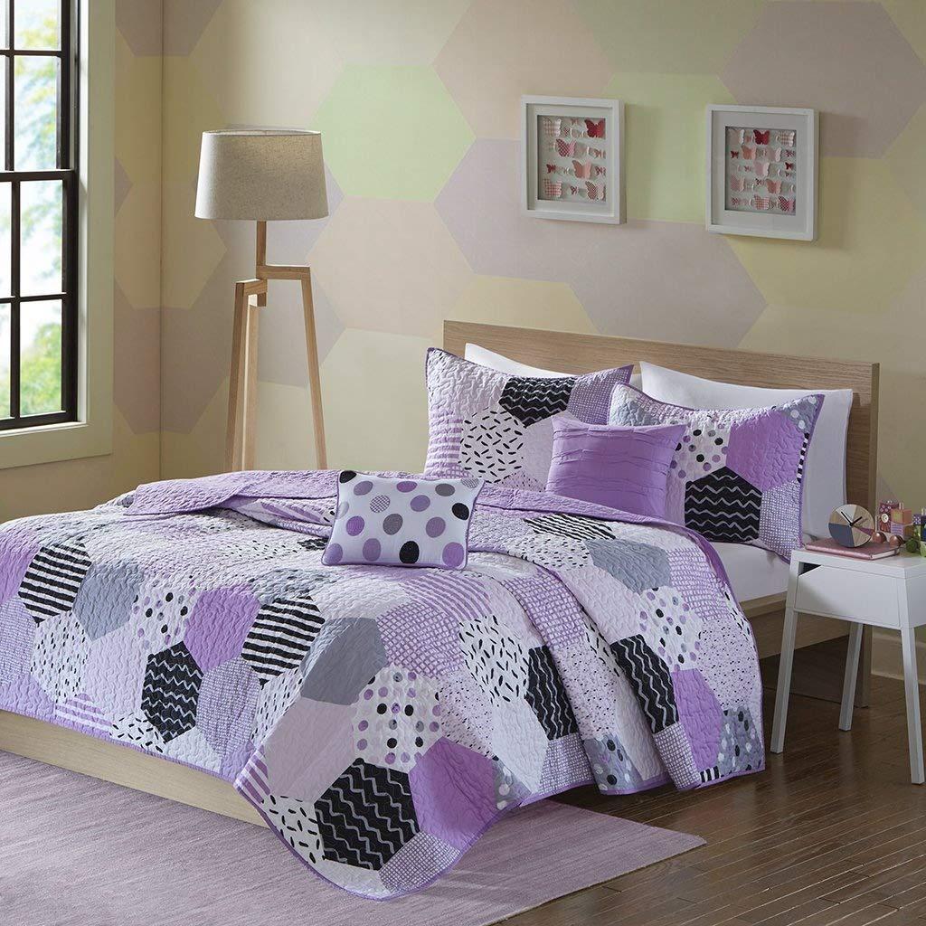 Urban Habitat Kids Trixie Full/Queen Bedding for Girls Quilt Set - Purple, Geometric – 5 Piece Kids Girls Quilts – Cotton Quilt Sets Coverlet