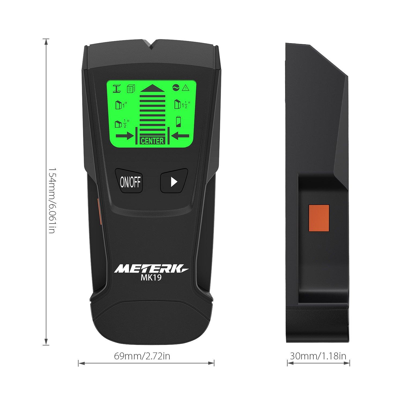 KKmoon Detector de pared Meterk MK19 Stud Finder LCD multifuncional Clavijas de madera digitales Buscador central Metal y cable de CA Escáner de cable vivo ...