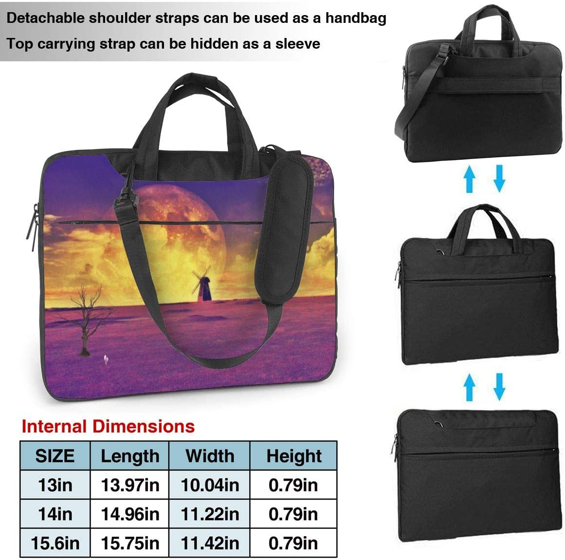 Asus Notebook Laptop Shoulder Bag Carrying Laptop Case 13 Inch Windmill Lavender Field Computer Sleeve Cover with Handle Business Briefcase Protective Bag for Ultrabook Sony MacBook Samsung