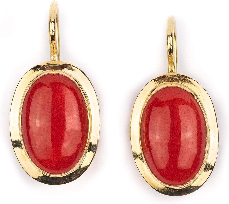 Sanna Gioielli - Pendientes de oro y coral rojo con cierre de gancho