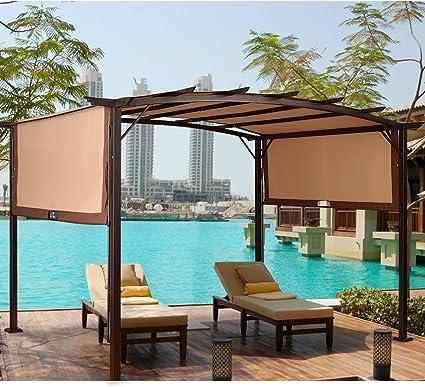 TANGKULA - Toldo de pérgola para exterior de jardín o patio, marco de acero, con toldos retráctiles