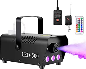 IPHUNGO 500W & 3000 CFM Fog Smoke Machine Controllable Lights with Fuse Protection - 3 LED Lights & 13 Colors & 1 Wired Receiver and 2 Wireless Remote Controls Perfect for Wedding, Party, Stage Effect