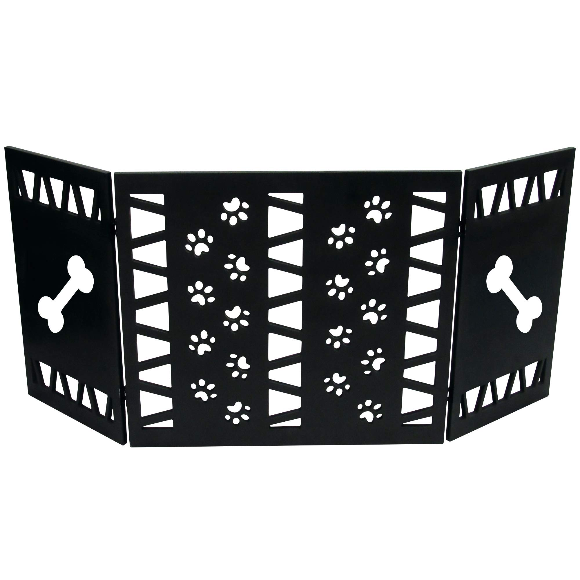 Hoovy Freestanding Decorative Pet Gate: Folding & Extending Dog & Puppy Gate for Home & Office Use   Keeps Pets Safe & Restricted to an Area   No Assembly Required (Paw Decor, Black)