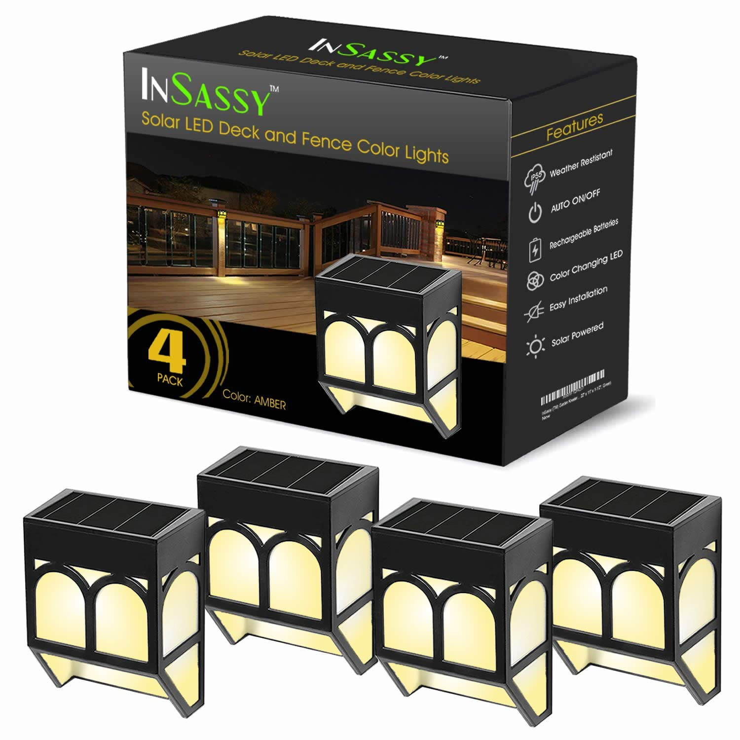 InSassy Solar Wall Lights Outdoor - Wireless Led Waterproof Security Lighting for Deck, Fence, Patio, Front Door, Wall, Stair, Landscape, Yard and Driveway Path - Warm/Color Changing - 4 Pack