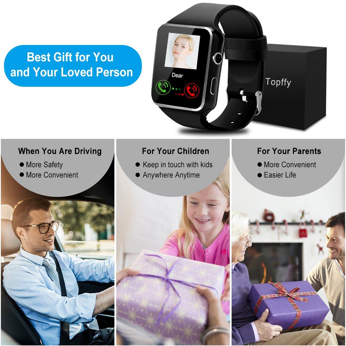 Smart Watch Bluetooth Touchscreen Smart Wrist Watch Smartwatch Phone Fitness Tracker with Sim SD Card Slot Camera Pedometer Compatible by IPXOZO (Image #2)