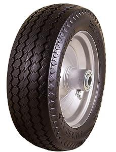 "Marathon 4.10/3.50-4"" Flat Free, All Purpose Utility Tire on Wheel, 3.5"" Centered Hub, 5/8"" Bearings"
