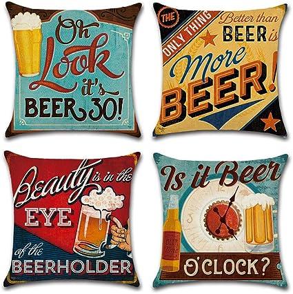 Gspirit 4 Pack Retro Cerveza Modelo Algodón Lino Throw Pillow Case Funda de Almohada para Cojín 45x45 cm
