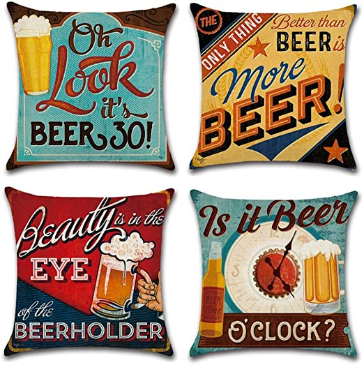 Gspirit 4 Pack Retro Cerveza Modelo Algodón Lino Throw Pillow Case ...