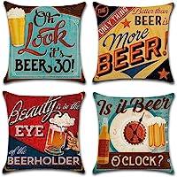 Gspirit 4 Pack Retro Cerveza Modelo Algodón Lino Throw Pillow Case Funda de Almohada…