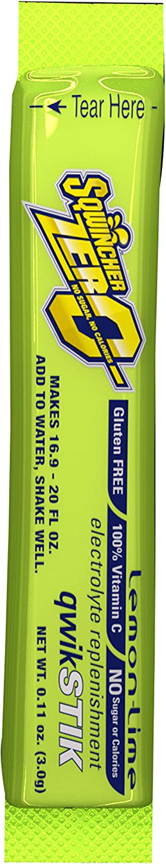 Sqwincher Zero Qwik Stik - Sugar Free Electrolyte Powdered Beverage Mix, Lemon Lime 060106-LL (Pack of 50)