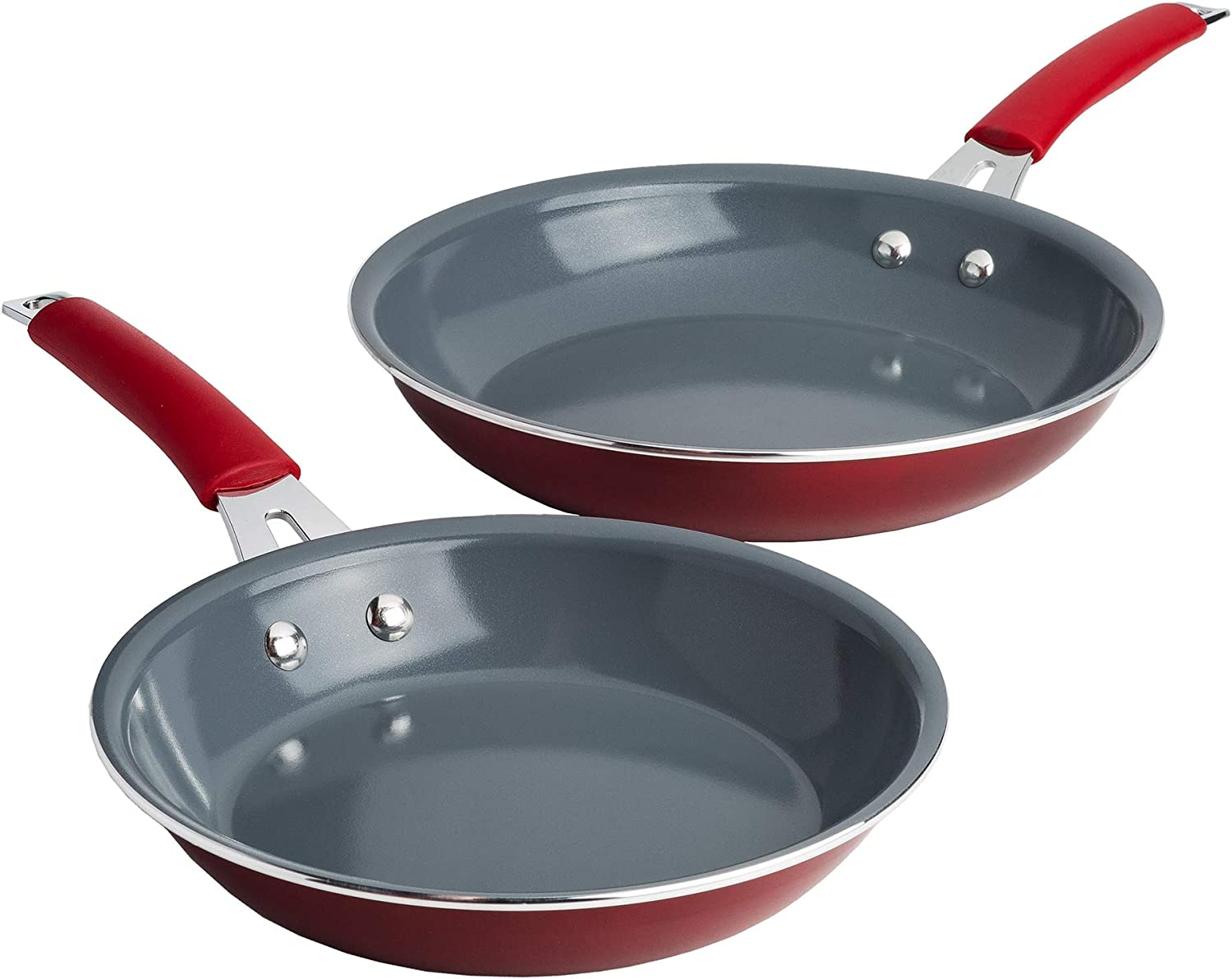 Cooking Light Allure Premier Ceramic Non-Stick Coating Cookware, 8 inch and 9.5 inch Skillet Set, Multipurpose Use, Silicone Stay Cool Handle, Easy Clean, 2 Piece Fry Pan, Red