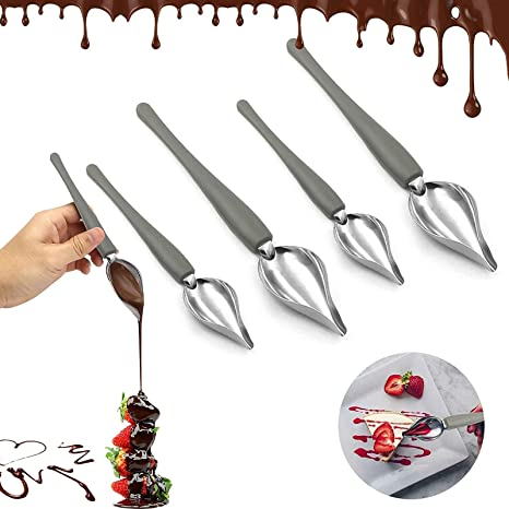 Saucier Drizzle Spoon Culinary Drawing Decorative Spoons Chef Culinary Drawing Spoons Baking Tool Kitchen Gadget Set of 2