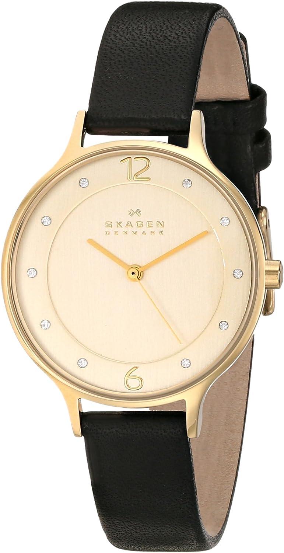 Skagen Women s SKW2266 Anita Black Leather Watch