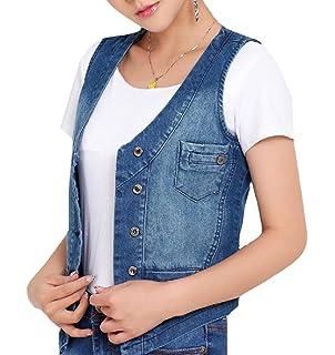d6746513f71e AngelSpace Women Slim Fit Sleeveless Button Down Large Size Jean Vest