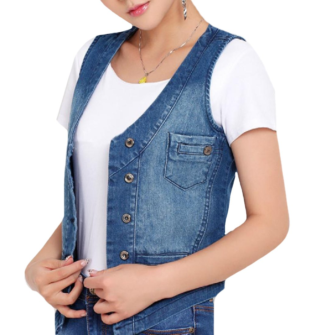 AngelSpace Women Slim Fit Sleeveless Button Down Large Size Jean Vest