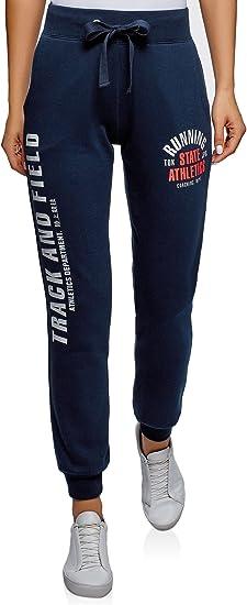 oodji Ultra Mujer Pantalones de Punto con Estampado y Cordones ...