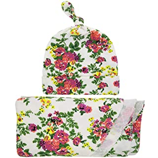 Baby Wrapped Cloth Hat Set Printing Package Blanket For Newborn Baby BLH