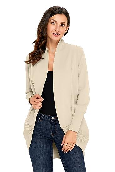 KCatsy Womens Sweater Long Sleeve Solid Color Large Size Knitted Waterfall  Collar Cardigan Flat Needle Jacket  Amazon.co.uk  Clothing 1da552e97