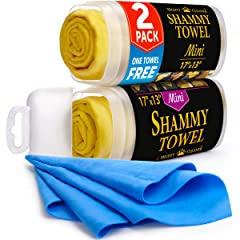 Premium Chamois Cloth for Car - 2 Pack - Mini Car Shammy (17 x 13 inches) - (Two Tubes + One Extra Shammy Towel for Car)