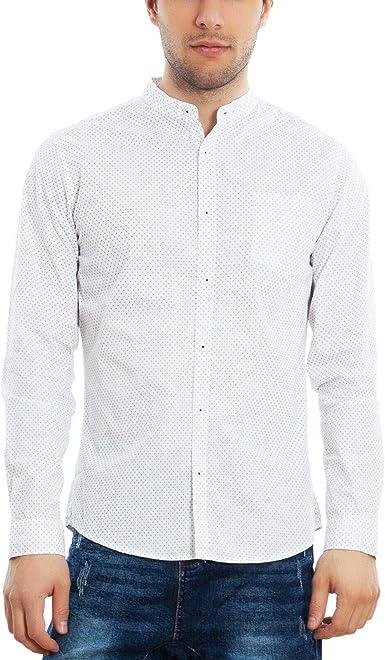 Toocool - Camisa Casual - Cuello Mao - Manga Larga - para Hombre: Amazon.es: Ropa y accesorios