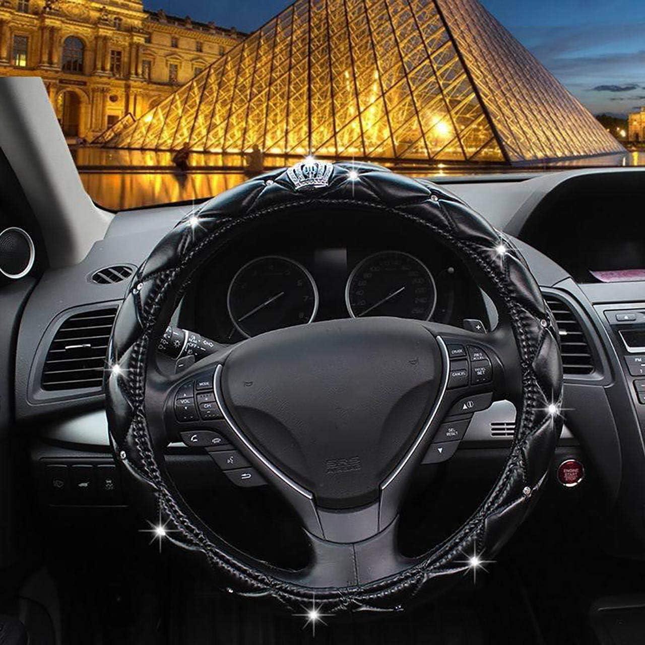 38CM 15 Crown black Universel Scintillant diamant couverture de volant de voiture Plein bling bling Strass Couverture de volant de voiture en cuir Accessoires int/érieurs auto styling auto