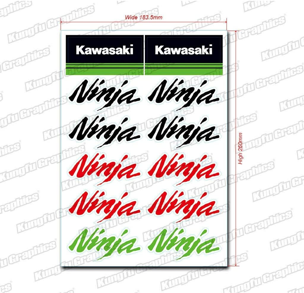 Kungfu Graphics Kawasaki Ninja Sponsor Logo Racing Sticker Sheet Universal (7.2 x 10.2 inch),Green, Red