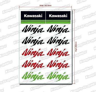 14 Kawasaki Stickers Decals Vinyl Road Bike Ninja Motorbike Racing Helmet Sheet