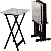 Linon 5-Piece Wood and Faux Marble Folding TV/ Snack Tray Table Set