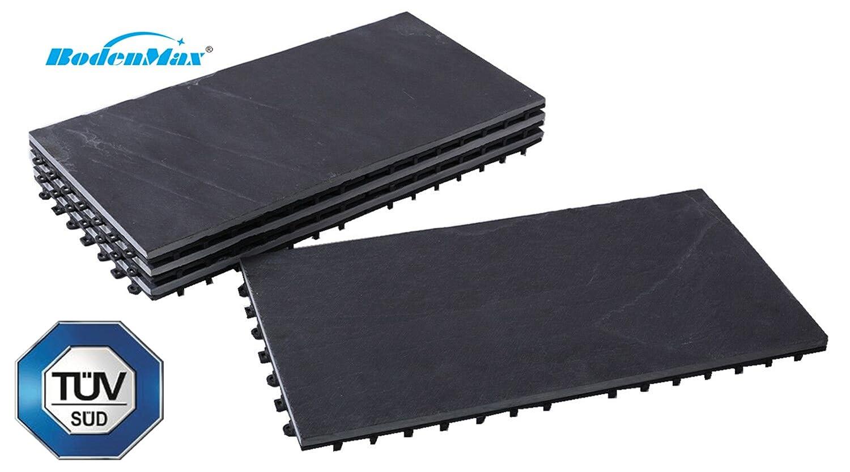 BodenMax/® LLSLA001-BLK-5 Schiefer-classic vollfl/ächig Click Bodenfliesen Set 30 x 30 cm Terassenfliesen Stein Schiefer grauschwarz 8 St/ück
