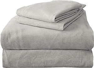 Queen Jersey Knit Sheets. All Season, Soft, Cozy Flannel Jersey T-Shirt Sheet Set. Cotton Blend Jersey Sheets. Cozy Flex Collection (Queen, Light Grey)