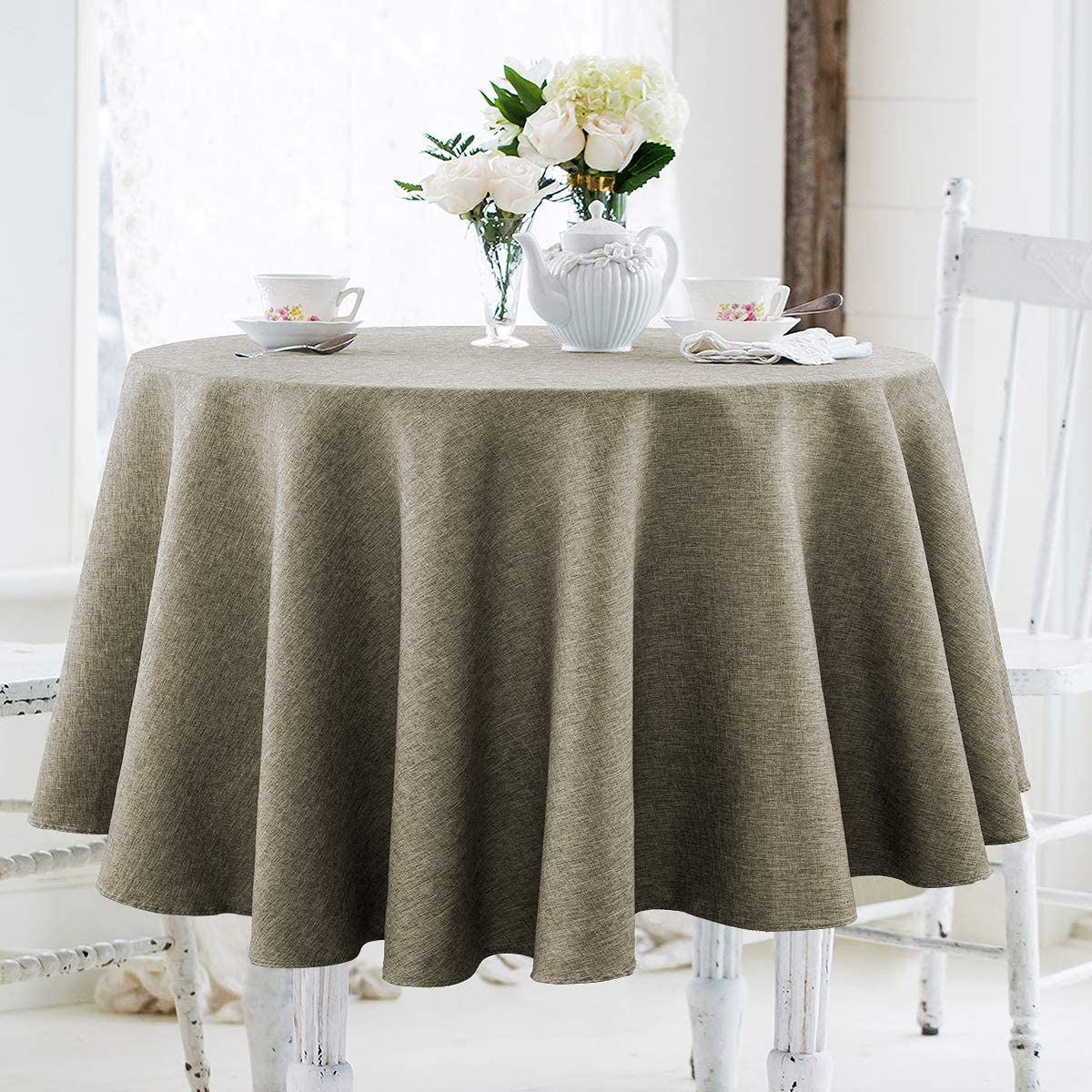 JUCFHY Round Table Cloth,Linen Rustic Tablecloth Heavy Duty Fabric,Stain-Proof,Water Resistant Washable Table Cloths,Decorative Round Table Cover for Kitchen,Holiday(60 Inch Round,Flax Linen)