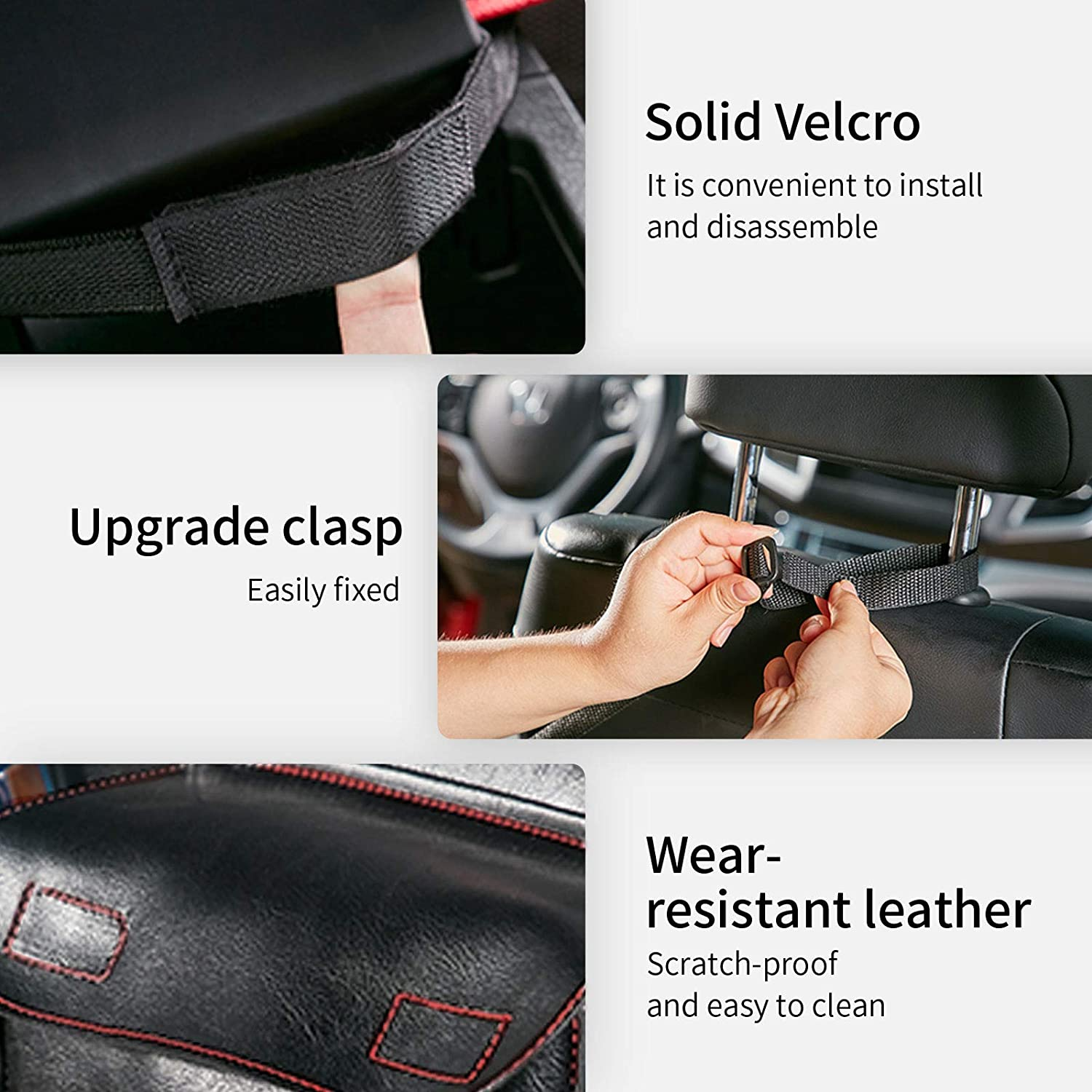 Car Hooks for Purses and Bags Front Seat,Black. morefulls Upgraded Cortical Car Net Pocket Handbag Holder,Leather Car Mesh Organizer,Upscale Storage Netting Pouch for Driver