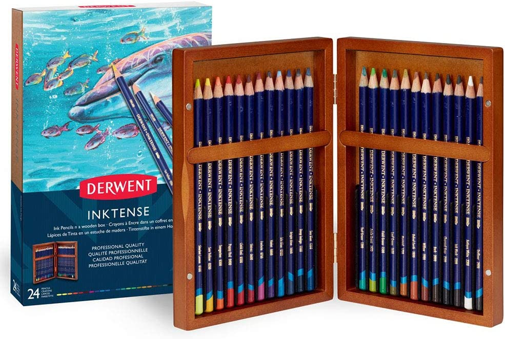 Derwent Colored Pencils, Inktense Ink Pencils, Drawing, Art, Gift Set Wooden Box, 24 Count (2302586)