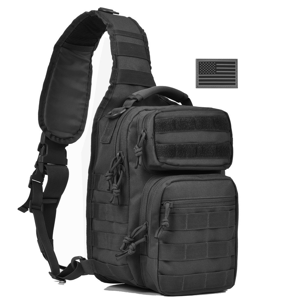 Tactical Sling Bag Pack Military Shoulder Sling Backpack Small Range Bag Day Pack with US Tactical Flag Patch Black