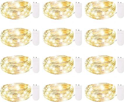 Paquete De 12 Guirnaldas De Luces A Pilas Tira De 7 Pies Con 20 Luces Led Impermeables Con Alambre Plateado Flexible Para Centros De Mesa De Bodas Artesanía En Tarros Mason